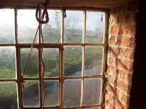 Window overlooking Norfolk landscape, England